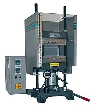 Model 12-10H bench top laboratory manual press with electrically heated platens.