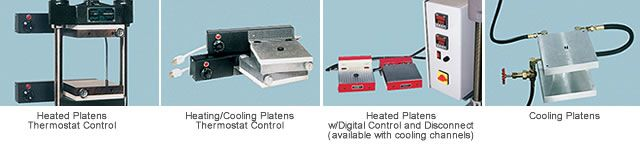 Options for lab press heating platens from Carver.